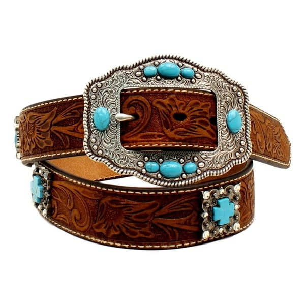 Ariat Western Belt Womens Cross Concho Stones Medium Brown