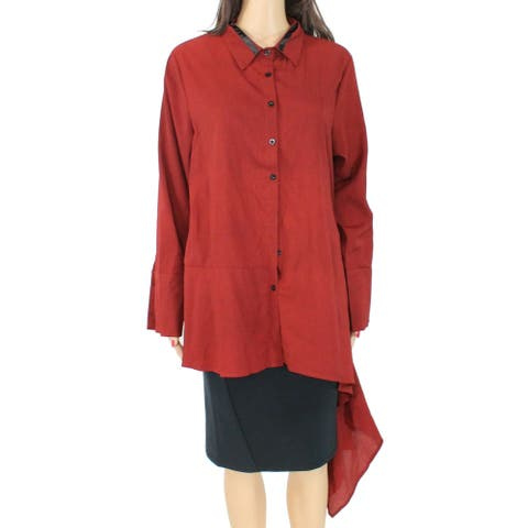 Verona Women's Blouse Rustic Red Size XL Vera Modest Button Down