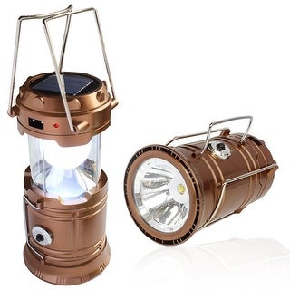 Solar Powered Camping Lantern, Solar LED Camp Light & Handheld Flashlight, Gold
