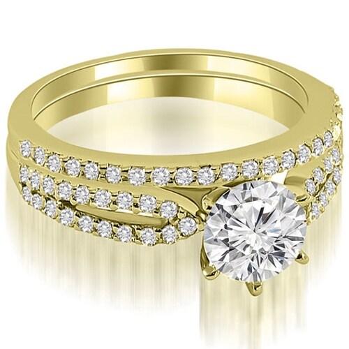 0.97 cttw. 14K Yellow Gold Cathedral Split Shank Round Diamond Bridal Set