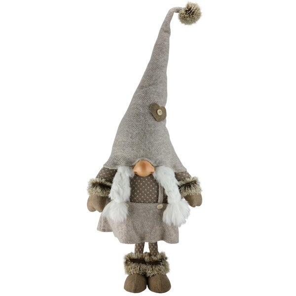 """31"""" Gnome with Pig Tails Tabletop Christmas Decoration - brown"""
