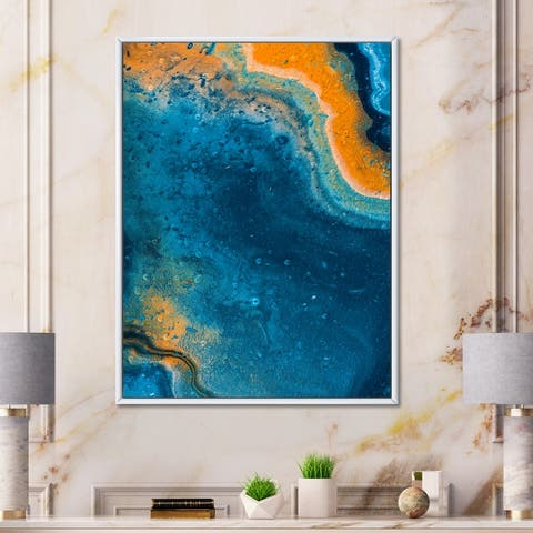 Designart 'Abstract Marble Composition In Blue and Orange V' Modern Framed Canvas Wall Art Print