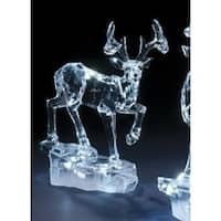 "8"" Icy Crystal LED Lighted Galloping Reindeer on Base Christmas Figure - CLEAR"