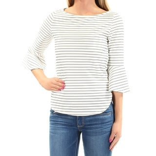 BAR III Womens New 1441 White Striped Bell Sleeve Boat Neck Casual Top 2X B+B