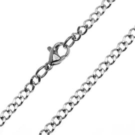 Beadaholique Flat Curb Chain Chain Finished Necklace, 18 1 Necklace 3mm Links, Stainless Steel