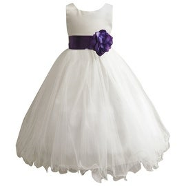 Wedding Easter Flower Girl Dress Wallao Ivory Rattail Satin Tulle (Baby - 14) Purple Violet