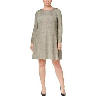 Jessica Howard Womens Plus Casual Dress Metallic Chevron