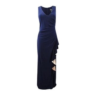 Link to Betsy & Adam Women's Ruched Contrast-Ruffle Gown - Navy/Blush Similar Items in Dresses