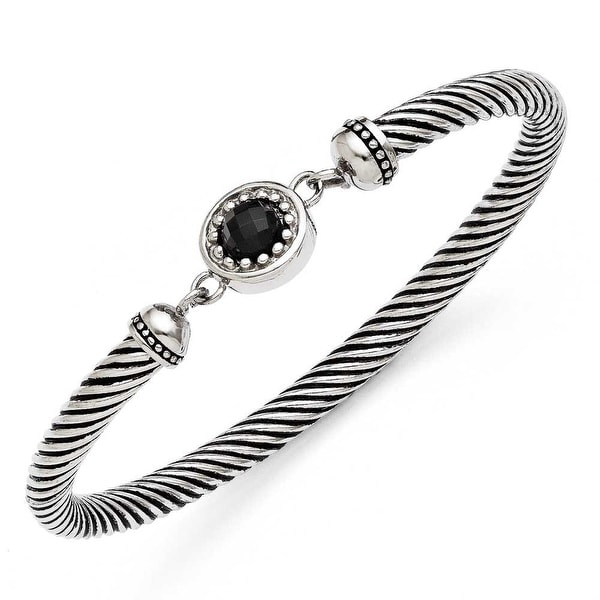 Chisel Stainless Steel Black Onyx Antiqued Bracelet