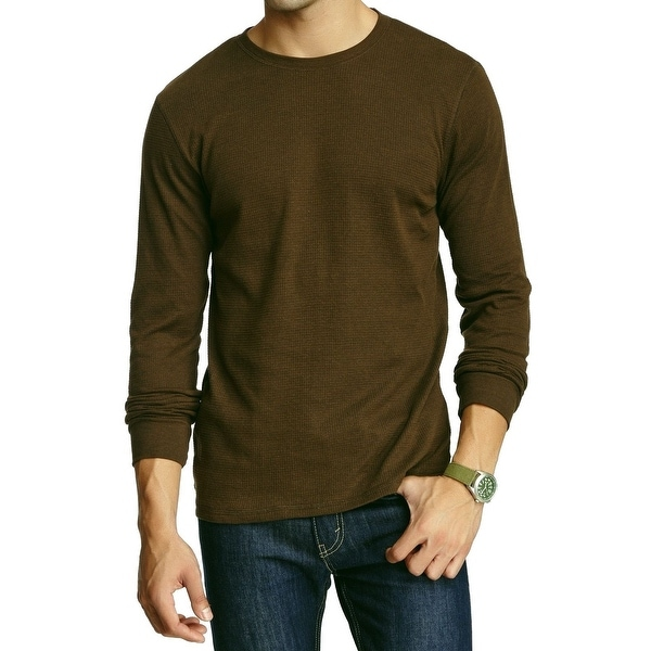 bf82dde5 ... Waffle Knit Sweatshirt: Shop Mixed NEW Brown Mens Large L Solid Waffle  Knit