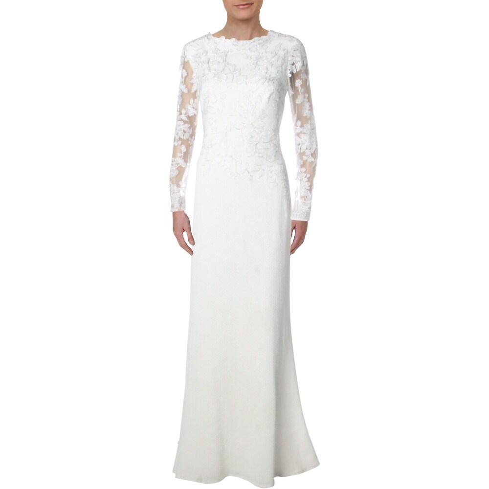 Tadashi Shoji Womens Evening Dress Crepe Embroidered