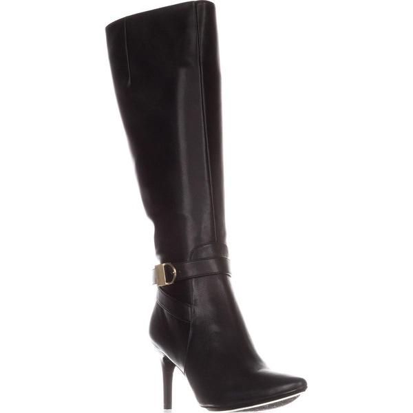Calvin Klein Jemamine Knee-High Fashion Boots, Black Leather