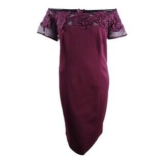 SL Fashions Women's Plus Size Lace-Applique Off-The-Shoulder Dress