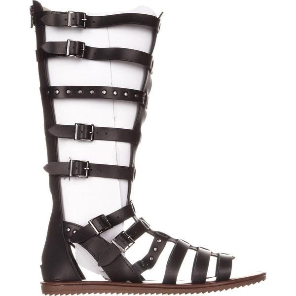Seven Dials Sarita Knee-High Gladiator Sandals Black//Smooth