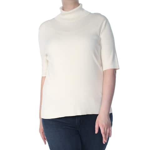 ANNE KLEIN Womens Ivory Raglan Turtle Neck Sweater Size: XL