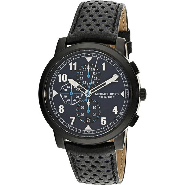 f0293a7db0ec Shop Michael Kors Men s Paxton Black Leather Japanese Quartz Fashion Watch  - Free Shipping Today - Overstock - 18618503