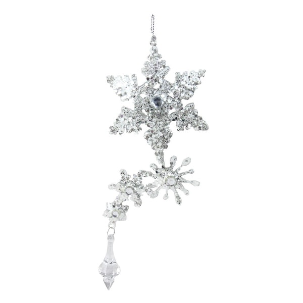 """7.75"""" Silver Glittered and Jeweled Snowflake Cluster Christmas Ornament - WHITE"""