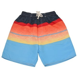 Quad Seven Boys Blue Red Orange Wavy Pattern Swimwear Trunks