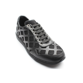 New Auth Versace Collection Men's Laser Cut Leather Mesh Sneaker Shoes Black