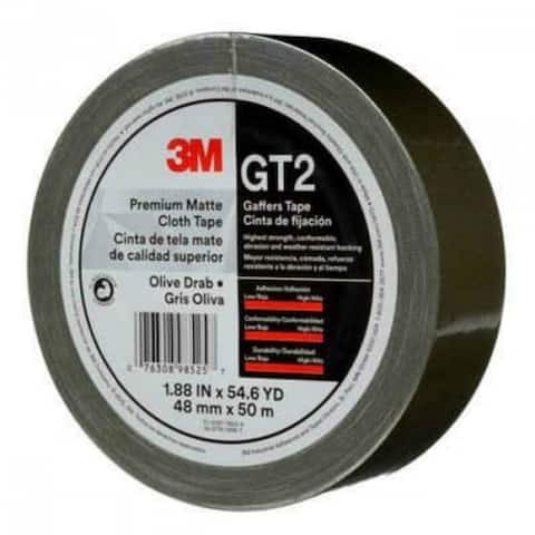 "3M GT2 Premium Matte Cloth Gaffers Tape, Black, 1.88"" x 54.6 Yd"