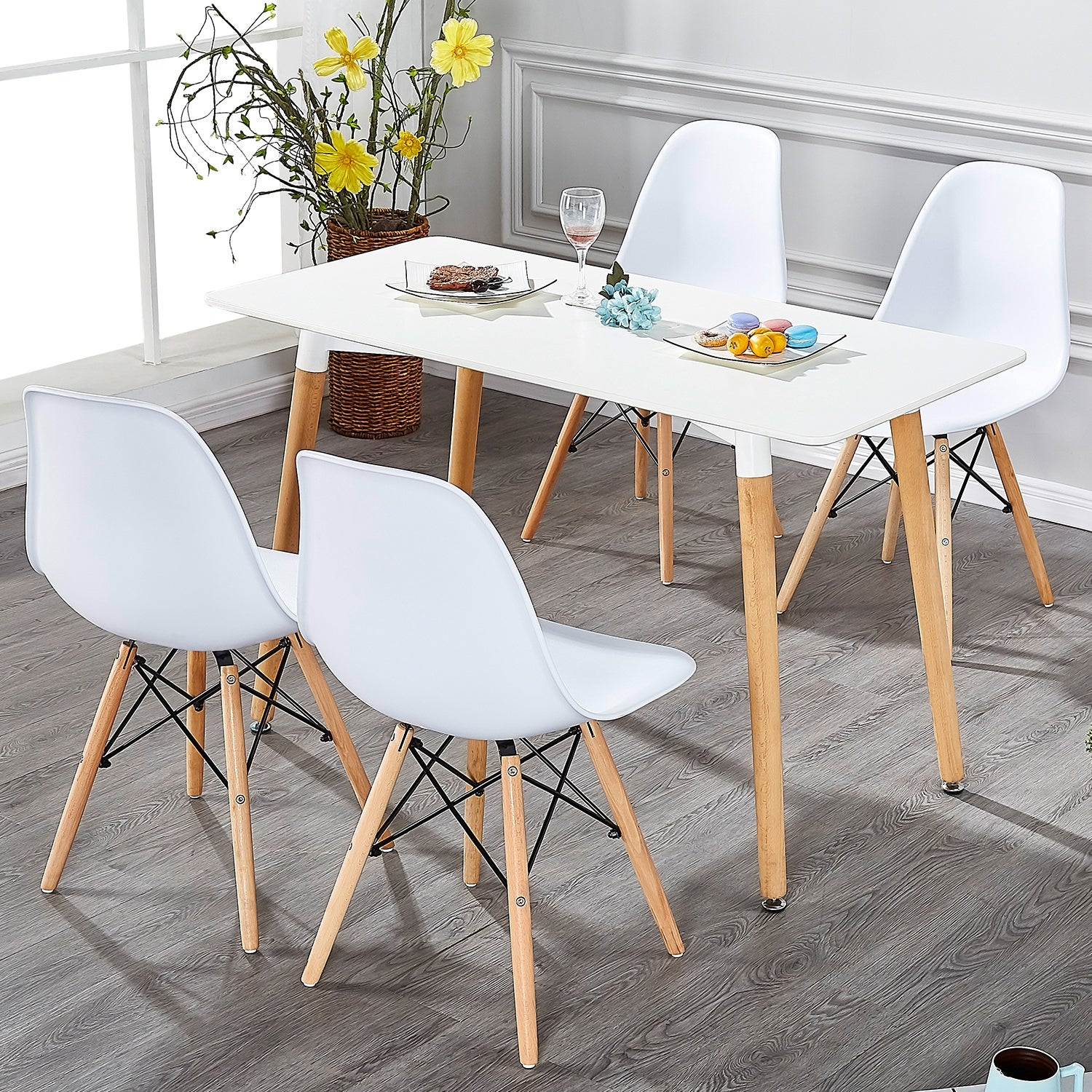 Vecelo Kitchen Dining Chair Sets Side Chair Wood Legs Set Of 4black And White