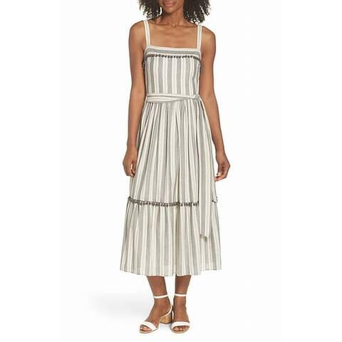 Maggy London Blue Women's Size 16 Striped Belted Sheath Dress