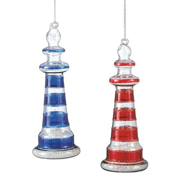 "5"" Seaside Escape Nautical Red Glitter Striped Glass Lighthouse Christmas Ornament"
