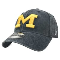 New Era Michigan Wolverines Baseball Cap Hat NCAA Rugged Wash 9Twenty 80470074