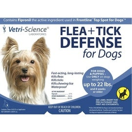 Vetri-Science Flea + Tick Defense For Dogs Up To 22 lbs, 3 Doses