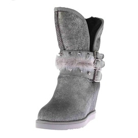 Australia Luxe Womens Hatchet Sheepskin Crackled Wedge Boots