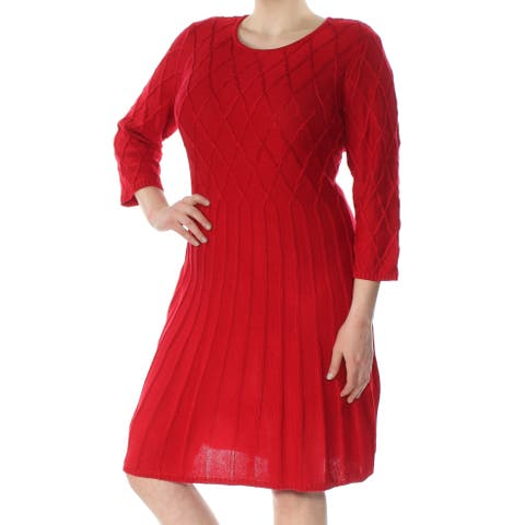 JESSICA HOWARD Womens Red Sweater 3/4 Sleeve Scoop Neck Knee Length Wear To Work Dress Plus Size: 2X