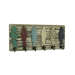 Distressed Wood Colorful Fish Wall Hook Rack - 5.25 X 11.75 X 1.5 inches
