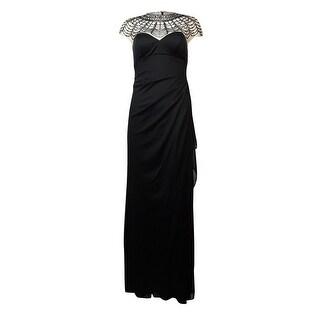 Xscape Women's Beaded Yoke Faux Wrap Dress - Black/nude - 4