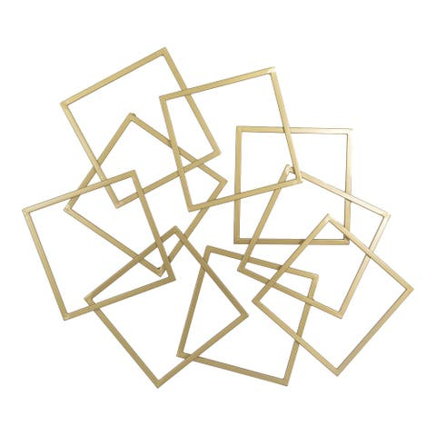 Aurelle Home Modern Gold Square Metal Wall Decor