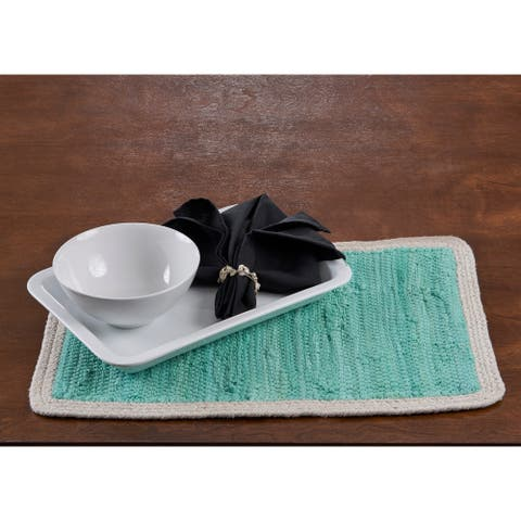 """Bordered Turquoise Place Mat - 1'-1"""" X 1'-7"""""""