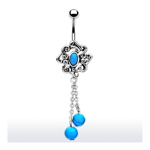 Vintage Turquoise Embedded dangle with Turquoise Ball Chain Navel Belly Button Ring (Sold Ind.)