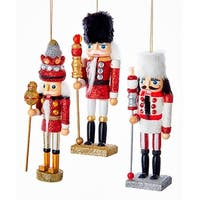 Kurt Adler Hollywood Red White Soldiers Nutcracker  Holiday Ornaments Set of 3