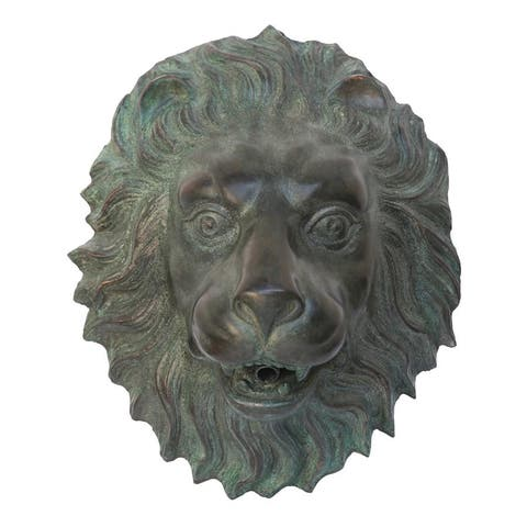 Design Toscano Florentine Lion Head Spouting Bronze Garden Wall Sculpture