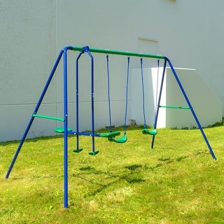 Link to ALEKO Outdoor Sturdy Child Swing Set with 2 Swings and 1 Glider - Blue and Green Similar Items in Outdoor Play
