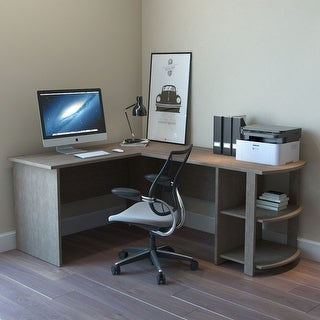 Ryan Rove Kristen Corner L Shaped Computer Desk - Home & Office Organizer with Open Shelves & Cable Management Grommet -Salt Oak