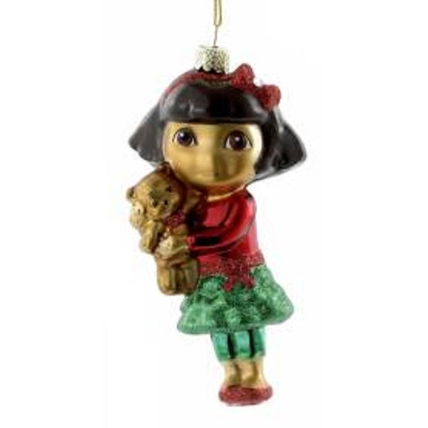 "4.25"" Dora the Explorer with Teddy Bear Glass Christmas Ornaments - RED"