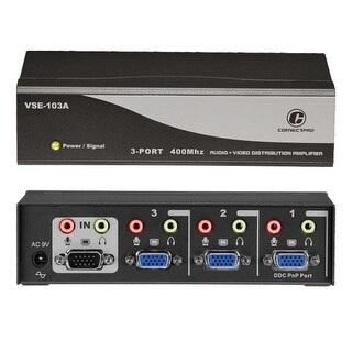"""Connectpro VSE-103A Connectpro VSE-103A, 3-port 400MHz Video/Audio Splitter - 1 x Video In, 3 x Video Out, 1 x Audio Line In, 3"