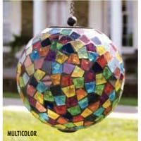 """8"""" Multi-Color Glass Mosaic LED Solar Powered Hanging Orb Outdoor Garden Light"""