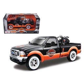 1999 Ford F-350 Pickup Truck With Harley Davidson 1936 El Knucklehead Motorcycle 1/24 Orange/Black & White Wheels by Maisto