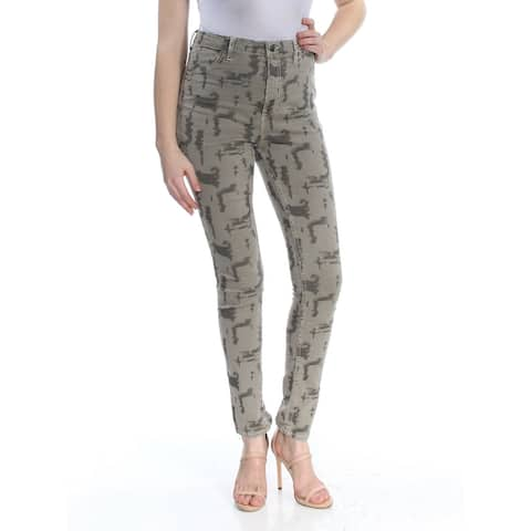 Free People Womens Jeans Green Size 24 Stretch Camo-Print Hi-Waist