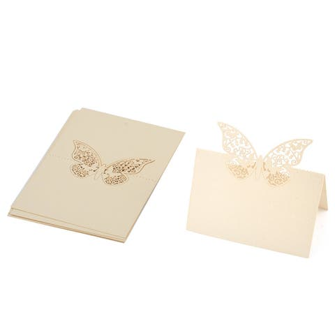 Party Paper Butterfly Pattern Hollow Out Table Name Place Card Decor Beige 10pcs