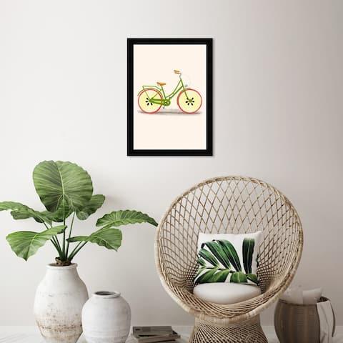 Wynwood Studio 'Apple Bike' Food and Cuisine Wall Art Framed Print Fruits - Yellow, Red