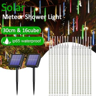 30CM 144LED Solar Meteor Shower String Lights Waterproof Light Falling String Lights for Wedding Party Christmas Lights-8pcs