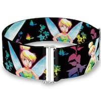 Glowing Tinker Bell Poses Butterflies & Flowers Black Multi Neon Cinch Sinch Waist Belt  ONE SIZE