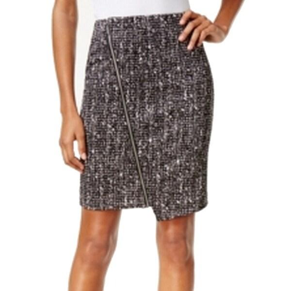 f86829d6307fd Michael Kors NEW Black Women  x27 s 8 Asymmetrical Zip Straight Pencil Skirt